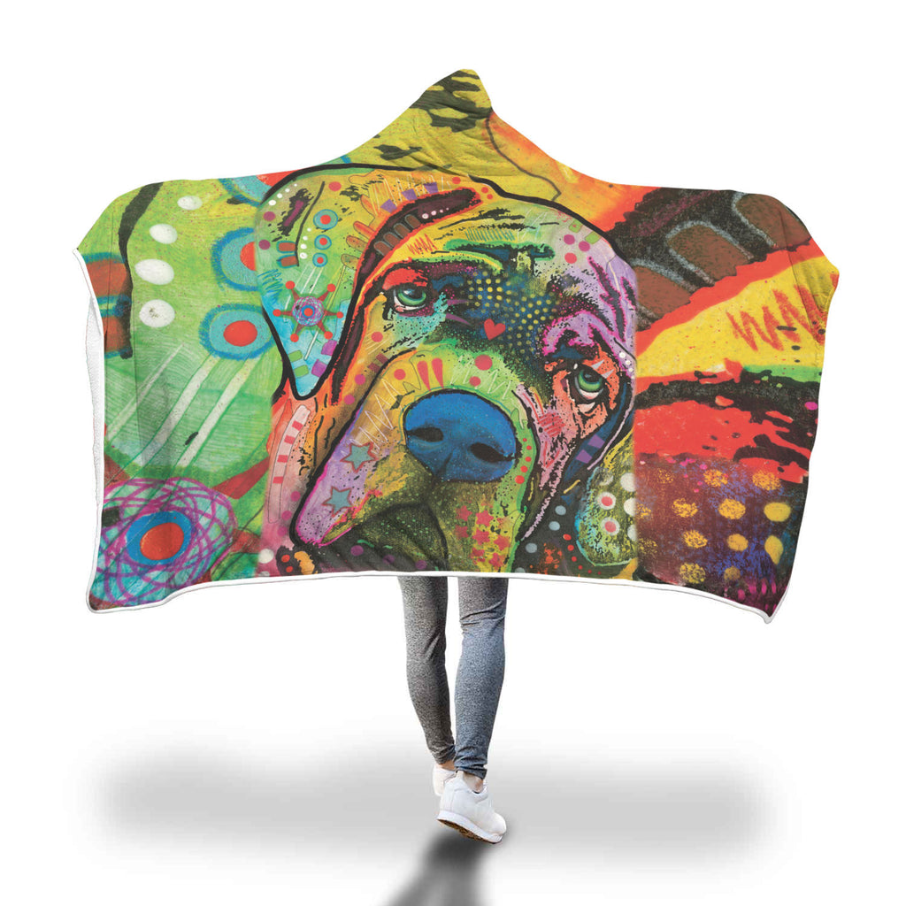 Mastiff Design Hooded Blanket - Dean Russo Art
