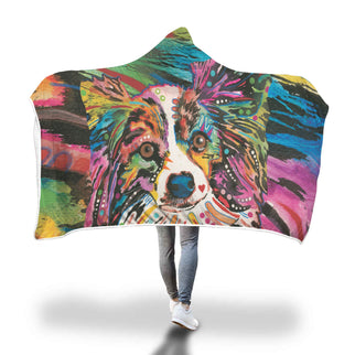 Papillon Design Hooded Blanket - Dean Russo Art