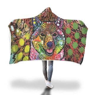 Shiba Inu Design Hooded Blanket - Dean Russo Art