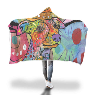 Whippet Design Hooded Blanket - Dean Russo Art
