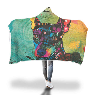 Miniature Pinscher Design Hooded Blanket - Dean Russo Art