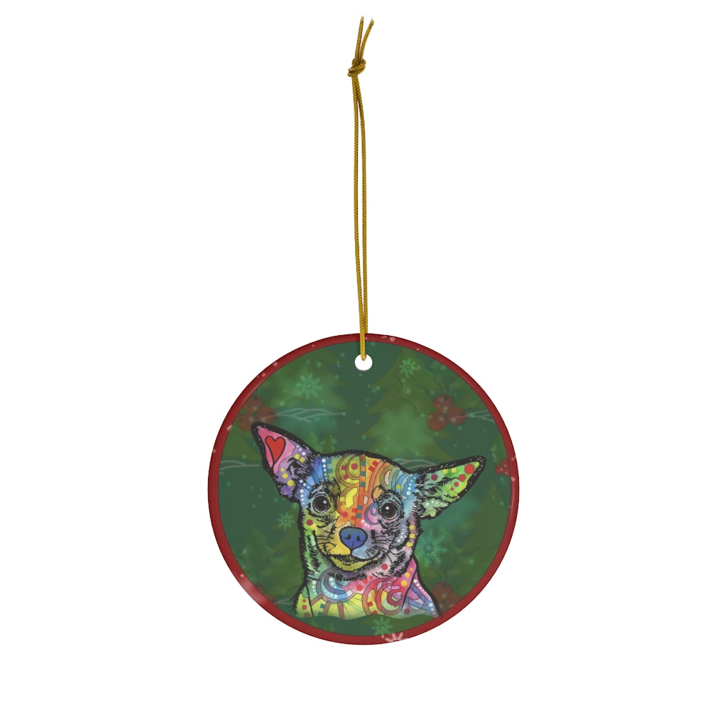 Chihuahua Design Ceramic Christmas Ornaments - Dean Russo Art - Jill 'n Jacks