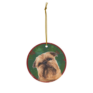 Brussels Griffon Design Ceramic Christmas Ornaments - JillnJacks Exclusive - Jill 'n Jacks