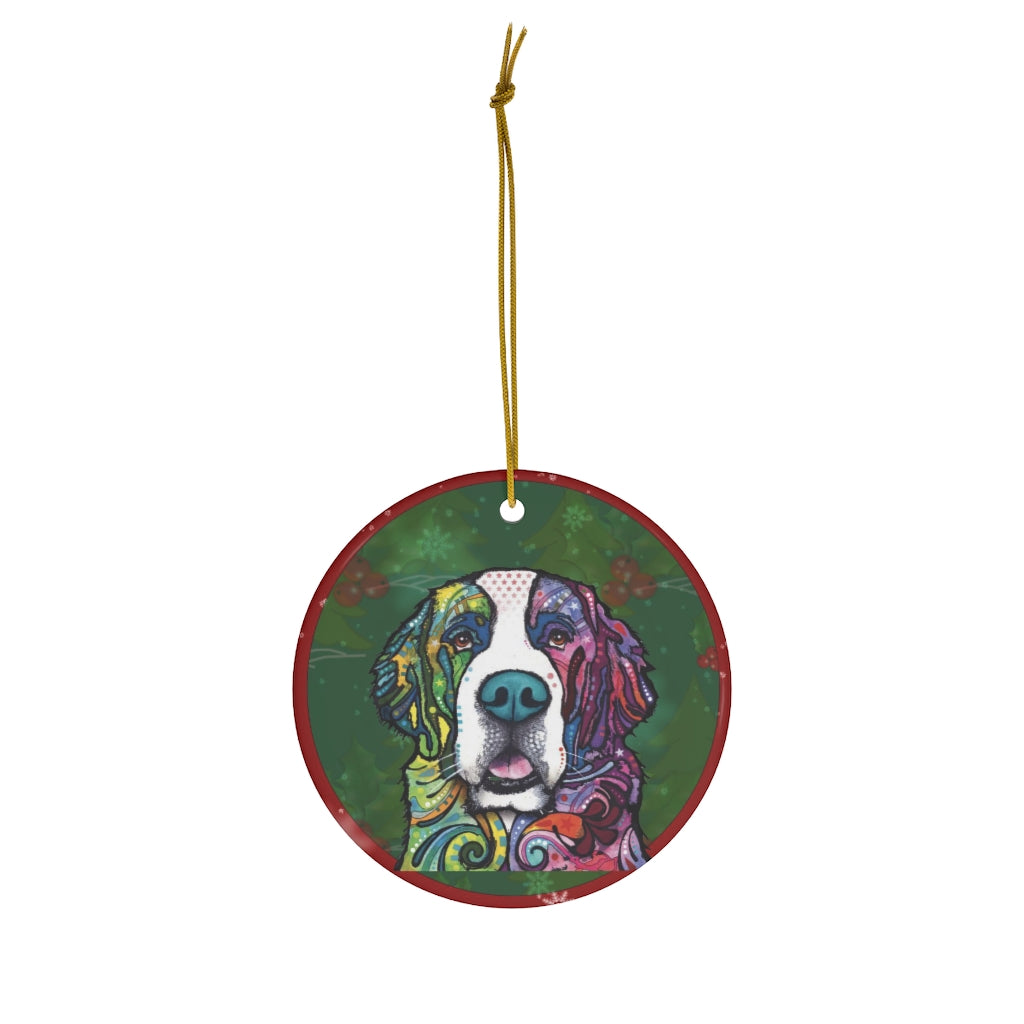 Saint Bernard Design Ceramic Christmas Ornaments - Dean Russo Art - Jill 'n Jacks