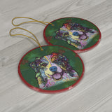 Australian Shepherd Design Ceramic Christmas Ornaments - Dean Russo Art - Jill 'n Jacks