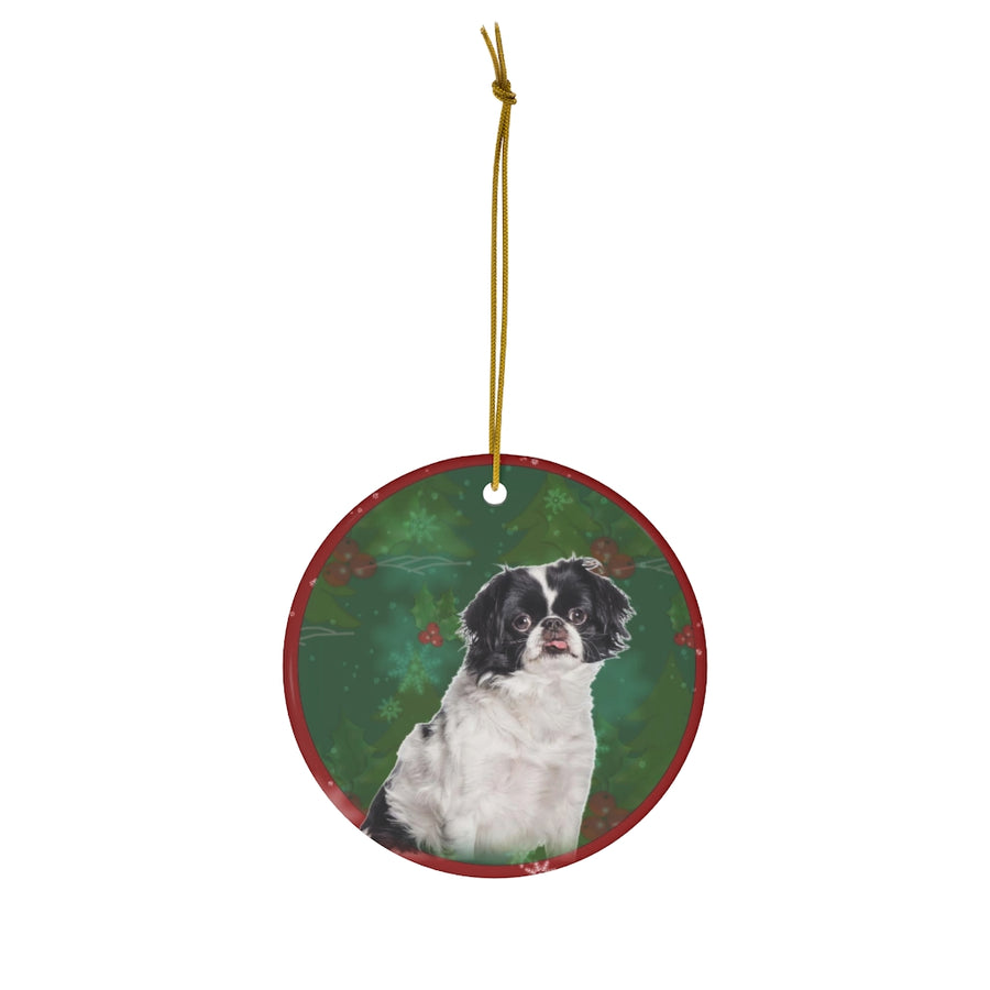 Japanese Chin Design Ceramic Christmas Ornaments - JillnJacks Exclusive