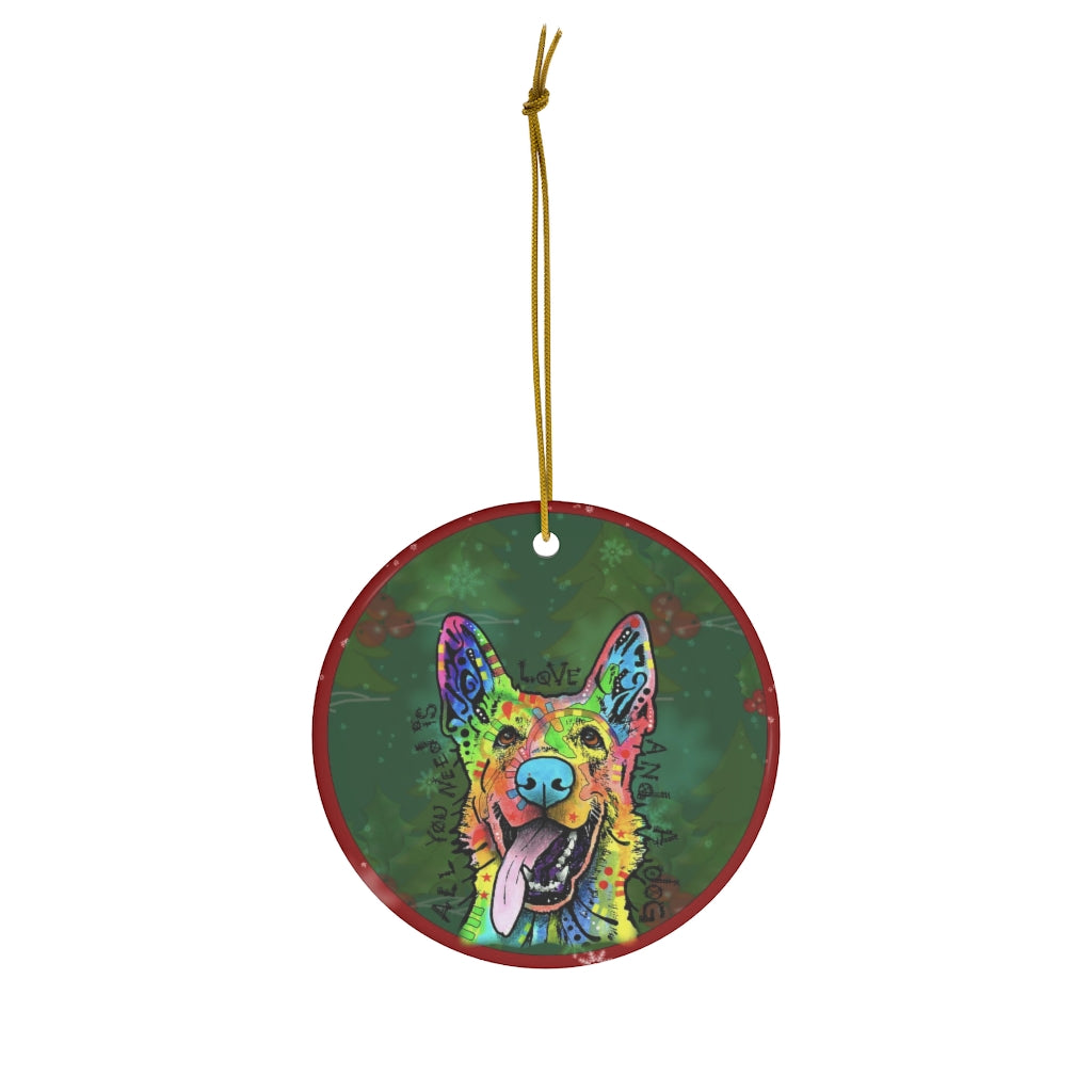 German Shepherd Design Ceramic Christmas Ornaments - Dean Russo Art - Jill 'n Jacks