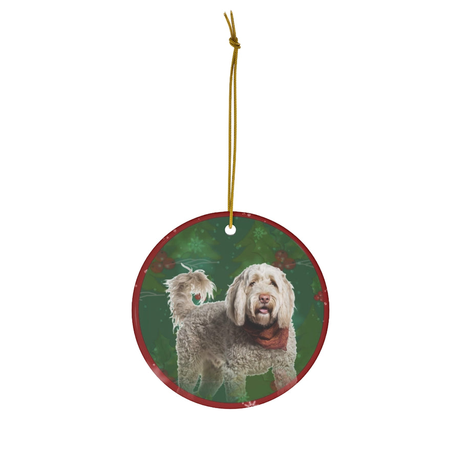 Portuguese Water Dog Design Ceramic Christmas Ornaments - JillnJacks Exclusive
