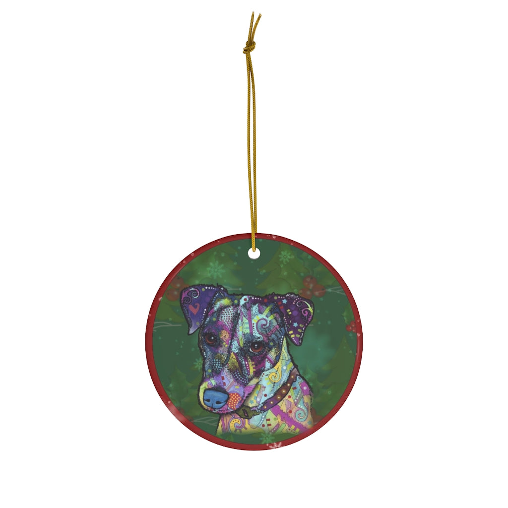 Jack Russell Terrier Design Ceramic Christmas Ornaments - Dean Russo Art - Jill 'n Jacks