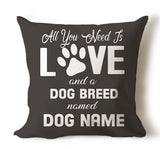 All You Need Is Love & Dog Breed Named... Personalized Pillow Covers - Jill 'n Jacks