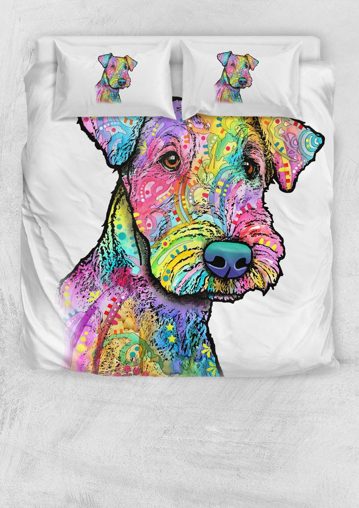Airedale Terrier Bedding Set - Duvet / Comforter Cover and Two Pillow Covers - Dean Russo Art - Jill 'n Jacks