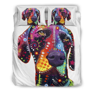 German Shorthaired Pointer Bedding Set - Duvet / Comforter Cover and Two Pillow Covers - White Back - Dean Russo Art - Jill 'n Jacks