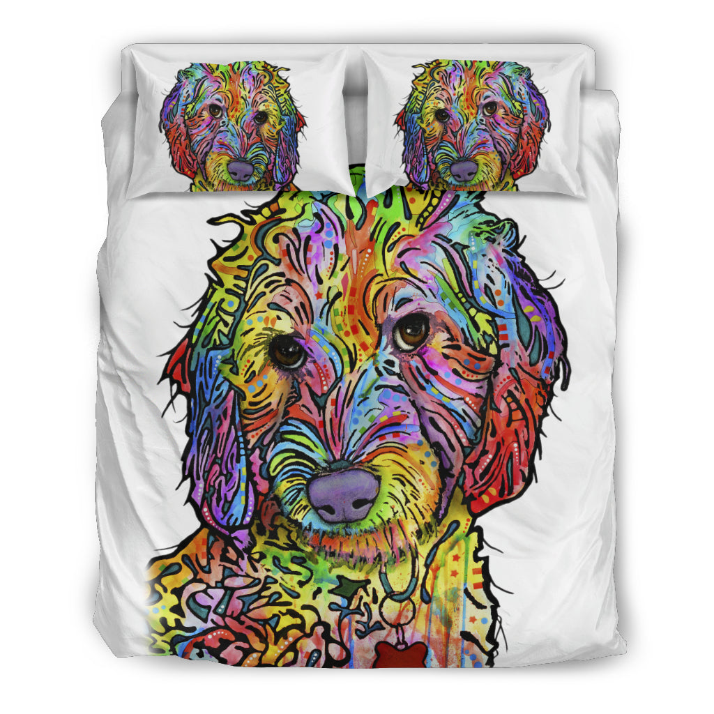 Labradoodle Bedding Set - Duvet / Comforter Cover and Two Pillow Covers - White Back - Dean Russo Art - Jill 'n Jacks