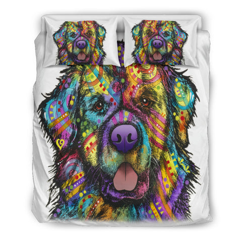 Newfie Bedding Set - Duvet / Comforter Cover and Two Pillow Covers - White Back - Dean Russo Art