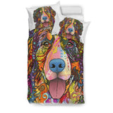 Bernese Mountain Bedding Set - Duvet / Comforter Cover and Two Pillow Covers - White Back - Dean Russo Art