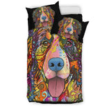 Bernese Mountain Bedding Set - Duvet / Comforter Cover and Two Pillow Covers - Black Back - Dean Russo Art