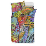 Whippet Bedding Set - Duvet / Comforter Cover and Two Pillow Covers - Printed Back - Dean Russo Art
