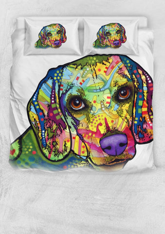 Beagle Bedding Set - Duvet Cover and Two Pillow Cases - Dean Russo Art