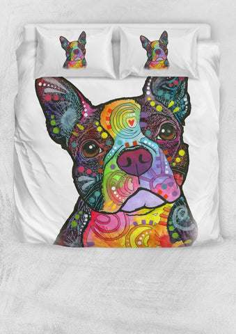 Boston Terrier Bedding Set - Duvet Cover and Two Pillow Cases - Dean Russo Art