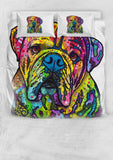 Bulldog Bedding Set - Duvet Cover and Two Pillow Cases - Dean Russo Art