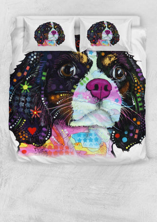 Cavalier King Charles Spaniel Bedding Set - Duvet Cover and 2 Pillowcases - Dean Russo Art - Jill 'n Jacks