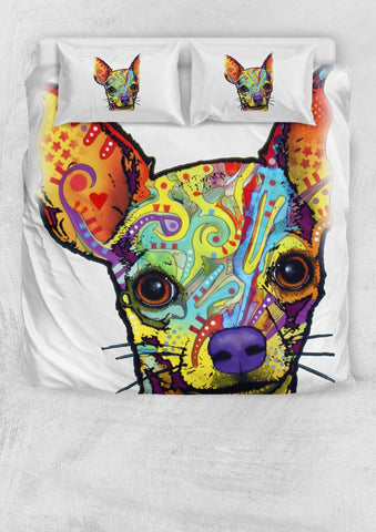 Chihuahua Bedding Set - Duvet Cover and Two Pillowcases - Dean Russo Art