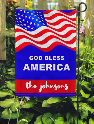 God Bless America Garden Flag Personalized With Your Last Name - Jill 'n Jacks