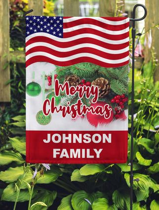Merry Christmas Garden Flag Personalized With Your Last Name - Jill 'n Jacks