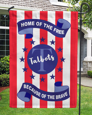 Home Of The Free Because Of The Brave Garden Flag Personalized With Your Last Name - Jill 'n Jacks