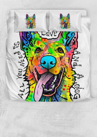 German Shepherd Bedding Set - Duvet Cover With Two Pillowcases - Dean Russo Art - Jill 'n Jacks