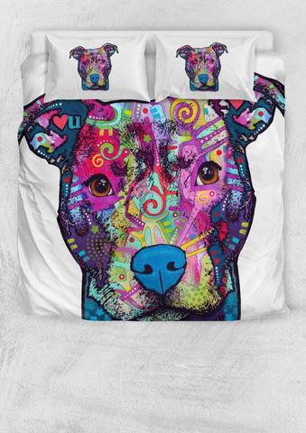 Pit Bull Design II Bedding Set - Duvet Cover and Two Pillowcases - Dean Russo Art