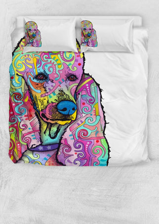 Poodle Bedding Set - Duvet Cover and Two Pillowcases - Dean Russo Art