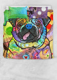 Pug Bedding Set - Duvet / Comforter Cover and Two Pillow Covers - Dean Russo Art
