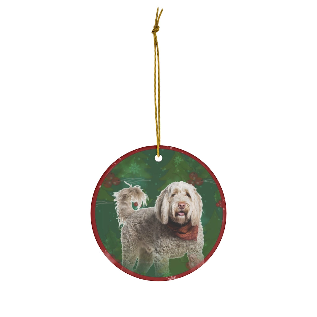 Portuguese Water Dog Design Ceramic Christmas Ornaments - JillnJacks Exclusive - Jill 'n Jacks
