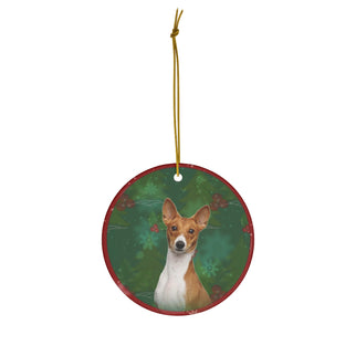 Basenji Design Ceramic Christmas Ornaments - JillnJacks Exclusive - Jill 'n Jacks