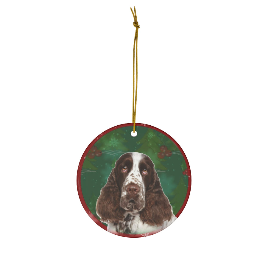 English Springer Spaniel Design Ceramic Christmas Ornaments - JillnJacks Exclusive