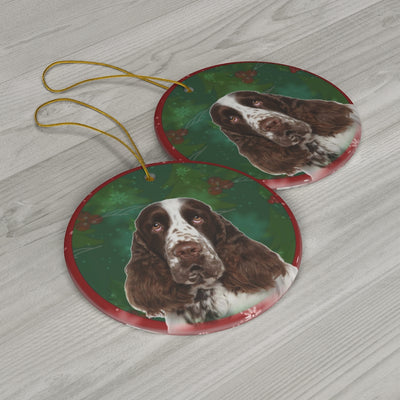 English Springer Spaniel Design Ceramic Christmas Ornaments - JillnJacks Exclusive - Jill 'n Jacks