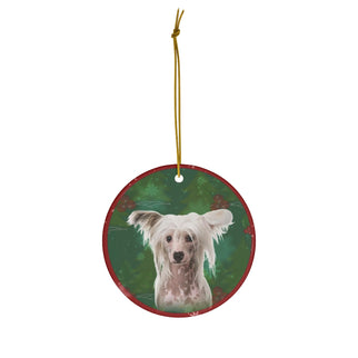 Chinese Crested Dog Design Ceramic Christmas Ornaments - JillnJacks Exclusive - Jill 'n Jacks