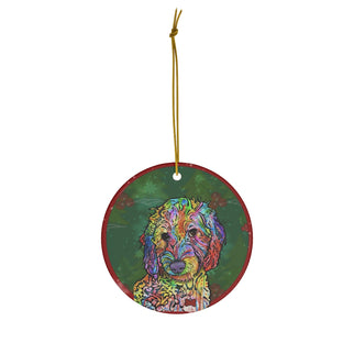 Labradoodle Design Ceramic Christmas Ornaments - Dean Russo Art - Jill 'n Jacks