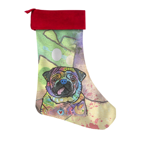 Pug Christmas Stocking - Dean Russo Art