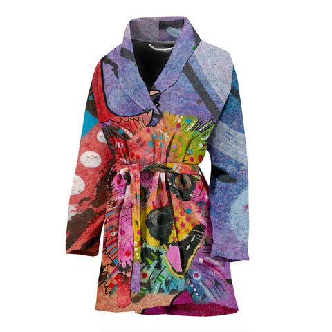 Pomeranian Design Women's Bath Robe - Dean Russo Art