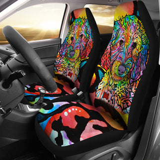 Labradoodle Design Car Seat Covers Colorful Back- Dean Russo Art - Jill 'n Jacks