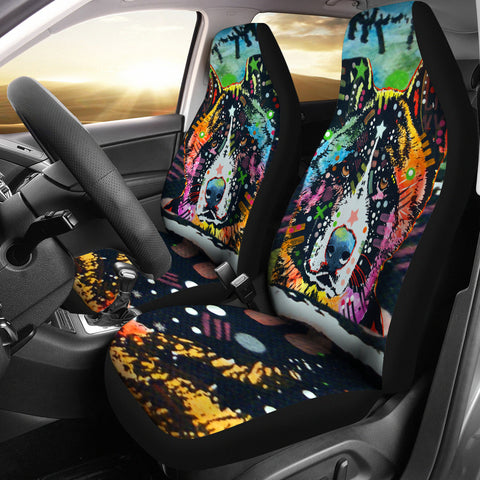 Akita Design Car Seat Covers Colorful Back- Dean Russo Art