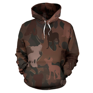 Chinese Crested Maroon All Over Print Camouflage Hoodie - JillnJacks Exclusive - Jill 'n Jacks