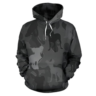 Chinese Crested Dark Grey All Over Print Camouflage Hoodie - JillnJacks Exclusive - Jill 'n Jacks