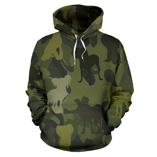 Chinese Crested Dark Green All Over Print Camouflage Hoodie - JillnJacks Exclusive - Jill 'n Jacks