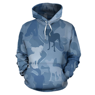 Chinese Crested Light Blue All Over Print Camouflage Hoodie - JillnJacks Exclusive - Jill 'n Jacks