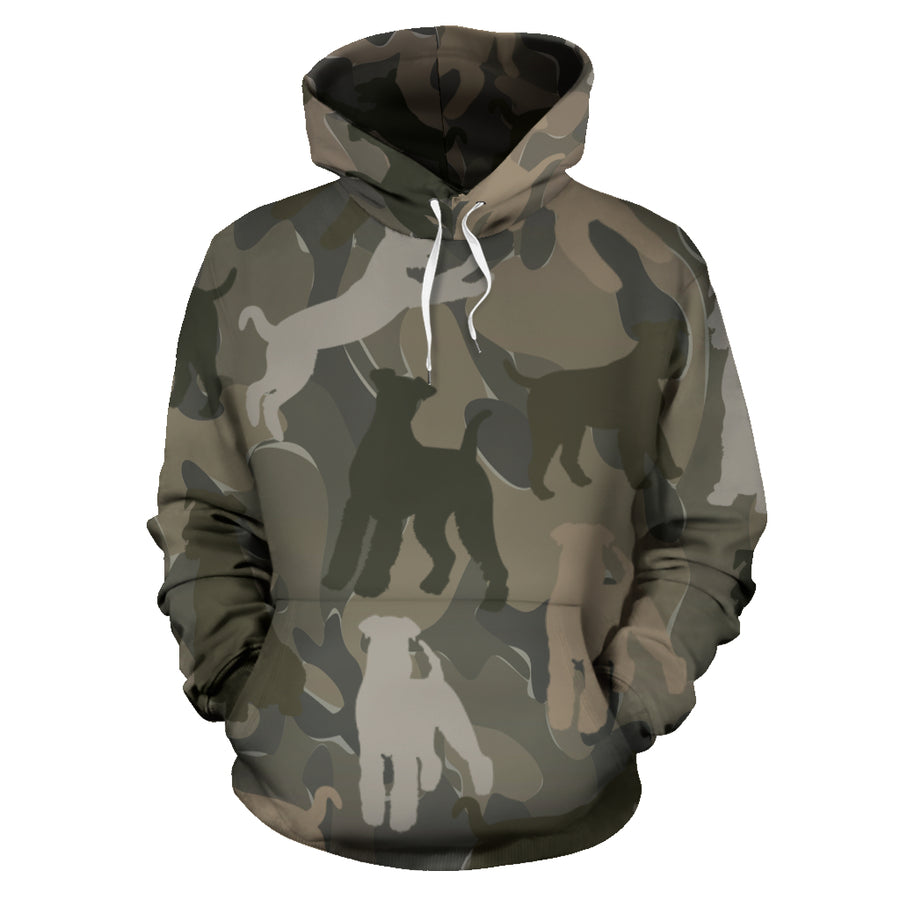 Airedale Terrier Brown All Over Print Camouflage Hoodie - JillnJacks Exclusive