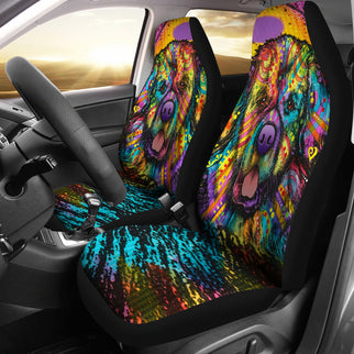 Newfie Design Car Seat Covers Colorful Back- Dean Russo Art