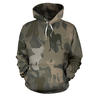 Chinese Crested Brown All Over Print Camouflage Hoodie - JillnJacks Exclusive - Jill 'n Jacks